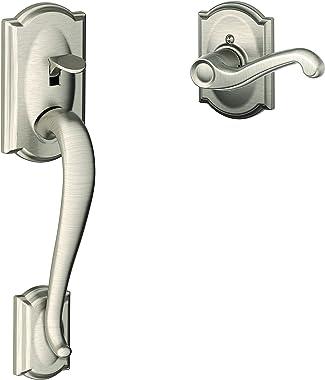 SCHLAGE FE285 CAM 619 FLA CAM LH Camelot Front Entry Handleset with Flair Lever, Lower Half Grip, Satin Nickel