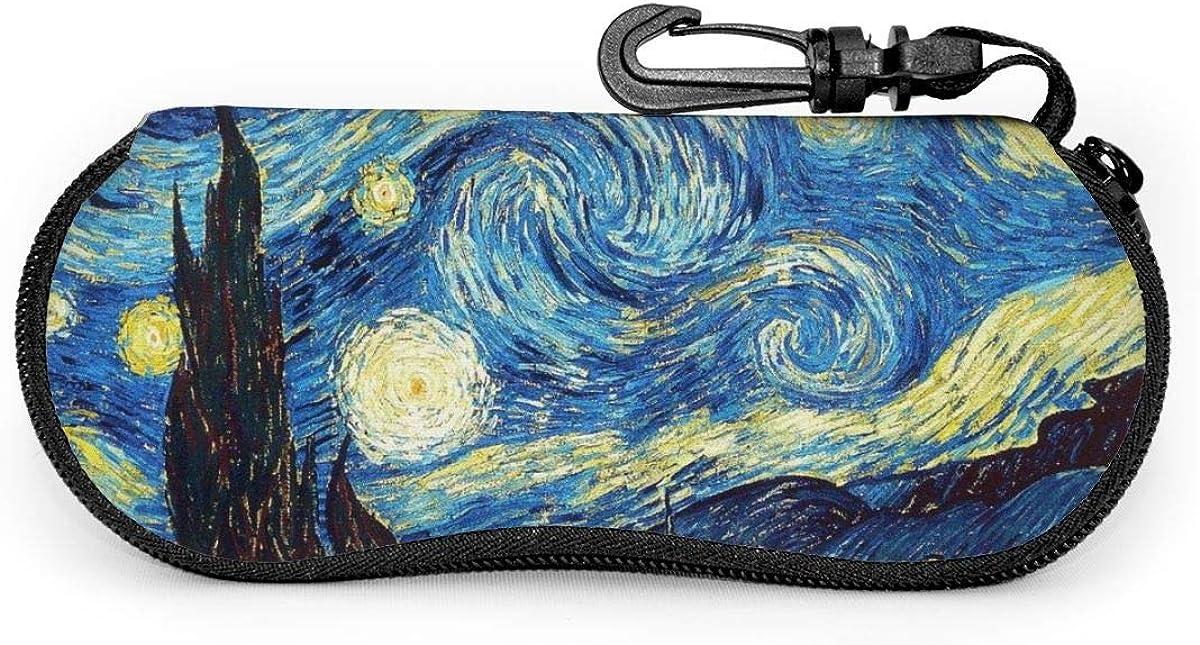 Van Gogh Starry Sky Sunglasses Soft Case Ultra Light Neoprene Zipper Eyeglass Case With Key Chain