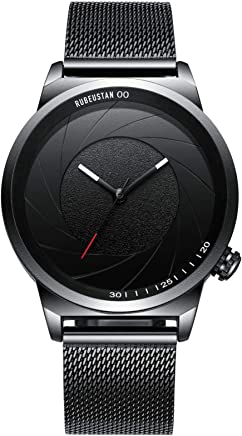 [ルビウスタン]RUBEUSTAN 腕時計 メンズ 防水 おしゃれ (ブラック)