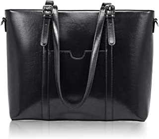 BROMEN Women Briefcase 15.6 inch Laptop Tote Bag Vintage Leather Handbags Shoulder Work Purses