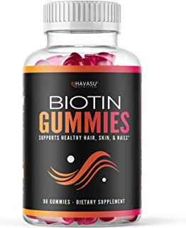 Havasu Nutrition High Potency Biotin Gummies - Natural Hair, Skin, Nail & Metabolism - 5000 mcg, Premium, Non-GMO, Pectin-Based, 90 Gummies