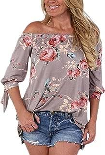 AlvaQ Women Off Shoulder 3/4 Sleeve Cuffed Floral Print Tops (7 Colors, S-XXL)