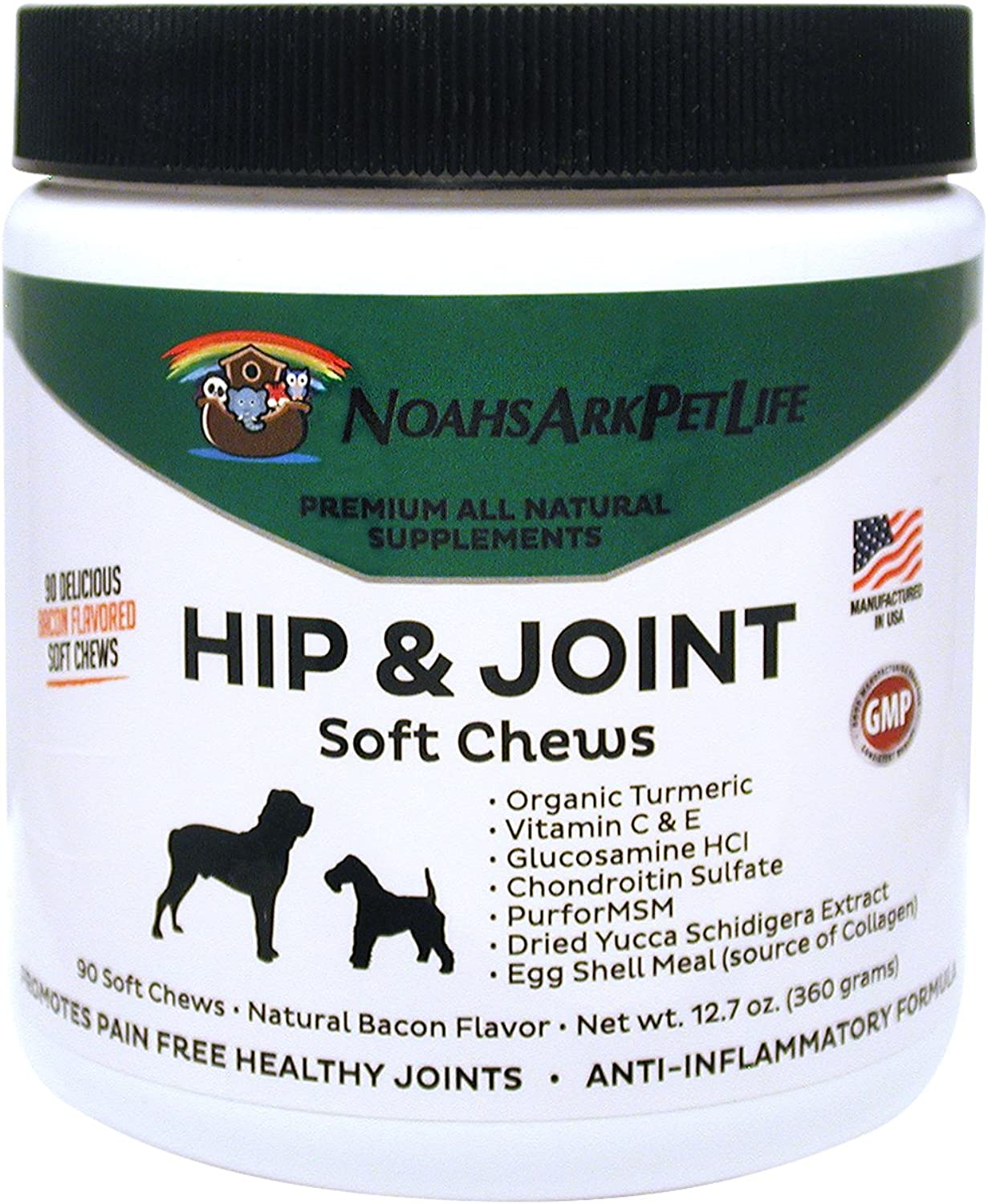 Noah's Ark Pet Life Advanced Hip and Joint Supplement for Dogs, Soft Chews, Arthritis Pain Relief, Anti Inflammatory, Glucosamine Chondroitin MSM, All Natural Organic Turmeric, Bacon Flavor, 90 Ct
