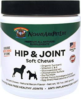 Noah's Ark Pet Life Advanced Hip and Joint Supplement for Dogs, Glucosamine Chondroitin MSM, Soft Chews, Arthritis Pain Relief, Anti Inflammatory, All Natural Organic Turmeric, Bacon Flavor, 90 Ct