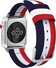 MoKo Compatible for Apple Watch Band, Fine Woven Nylon Adjustable Replacement Band Sport Strap Fit iWatch 42mm 44mm Series 5/4/3/2/1, Blue & White & Red (Not fit 38mm 40mm Versions)