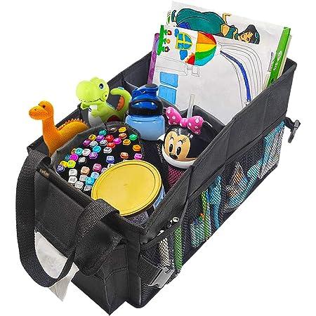Ecwkvn Auto Organizer Für Vorder Und Rücksitze Kofferraum Organisator Mit Tissue Box Faltbarer Beifahrersitz Organisator Für Kinder Becherhalter Spielzeug Auto