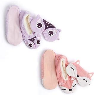 Calcetín o pantuflas para mujer con antifaz a juego, agarre suave cepillado para dormir, ropa de dormir