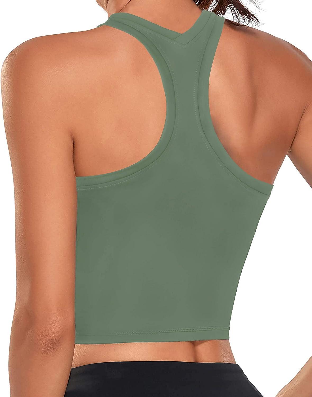 FAVALIVE Sports Bra for Women Longline Crop Tank Tops Fitness