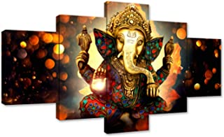 AMEMNY Canvas Painting Wall Art Home Decor for Living Room HD Prints 5 Pieces Elephant Trunk God Modular Poster Ganesha Pictures Wooden Office Bathroom Framed Ready to Hang