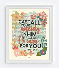 Cast All Your Anxiety on Him, 1 Peter 5:7, Christian Art Print, Unframed, Vintage Bible Page Verse Scripture Floral Christian Wall and Home Decor Poster, 8x10 Inches