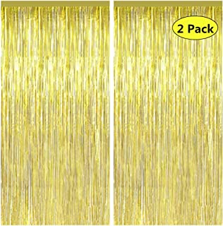 2pcs 3ft x 8.3ft Gold Metallic Tinsel Foil Fringe Curtains, Featy Party Decor Backdrop for Birthday Wedding Engagement Bridal Shower Baby Shower Bachelorette Holiday Celebration Party Decorations