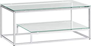 Chrome Finish Glass 2-Tier Contemporary Cocktail Coffee Table with Lower Shelf