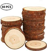 50 x Rund Holz Anhänger Astscheiben Baumscheibe Holzscheibe Dekomaterial 5-7cm