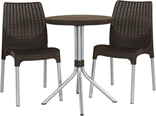 Keter 232350 Chelsea Patio Table and Chairs, Brown