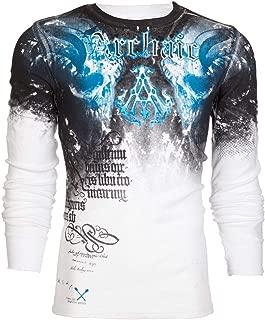 Affliction Archaic Men Thermal Shirt NIGHTWATCHER Skulls White Blue Biker