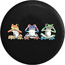 556 Gear Hear See Hear No Evil Neon Tree Frogs Jeep RV Spare Tire Cover Black 32 in