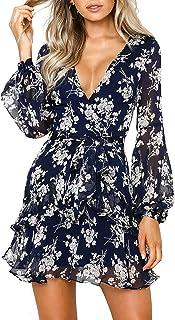Eledobby Women's Deep V Neck Ruffle Chiffon Dress Casual Long Sleeve Floral A Line Fit and Flare Mini Dress