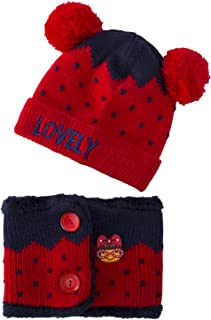 Dreamslink Hat Kids Winter Hat, Plus Velvet Thickening Warm, Baby Knitted Hat with Scarf Crown Cap, Red