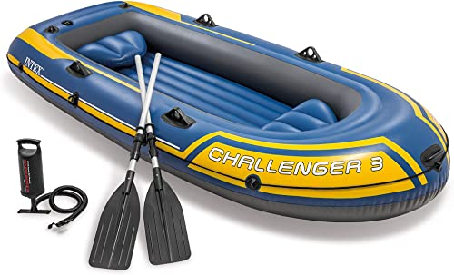 2021 Intex lowest 2021 68370EP Challenger 3 Inflatable Raft Boat Set with Pump and Oars, Blue online sale