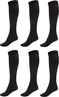 6 Pack of Women Trouser Socks with Comfort Band Stretchy Spandex Opaque Knee High
