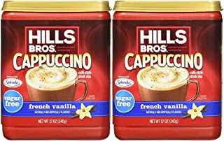 Hills Bros. Instant Cappuccino Mix, Sugar-Free French Vanilla Cappuccino Mix –Easy to Use, Enjoy Coffeehouse Flavor from H...