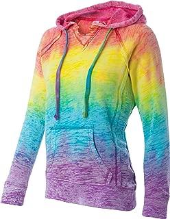 MV Sport Burnout V-Notch Hooded Sweatshirt. W1162-Rainbow Stripe