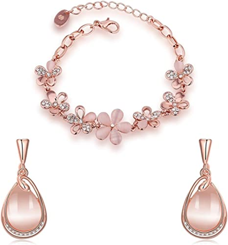 Yellow Chimes Exclusive Opal Collection Designer Combo Rose Gold Plated Bracelets and Earrings for Women and Girls product image