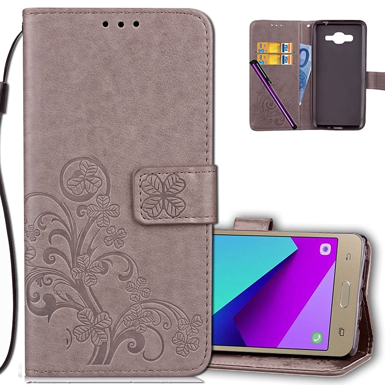 J2 Prime Wallet Case Leather COTDINFORCA Premium PU Embossed Design Magnetic Closure Protective Cover with Card Slots for Samsung Galaxy J2 Prime SM-G532 (5.0 inch). Luck Clover Grey