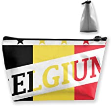 Belgium Flag Football World Cup Cosmetic Bag with Zipper, Toiletry/Travel Bag for Brushes Jewelry Accessories