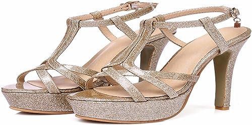 HBDLH Chaussures pour Femmes oren Hauts Hauts Talons L'été Et L'été Les Petites Et Les Plates - Formes Soirée Sexy des Sandales.  point de vente