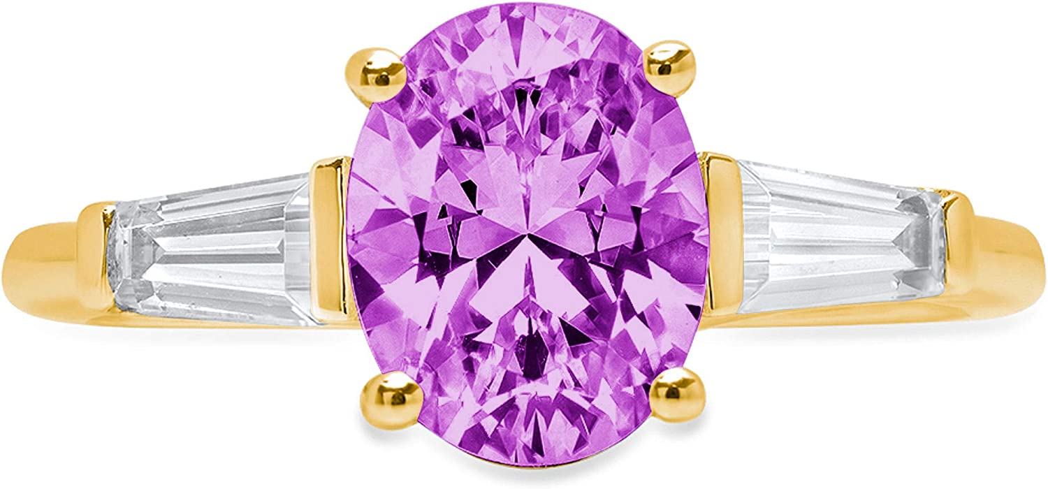 2.45 ct Oval Baguette cut 3 stone Solitaire with Accent Flawless Ideal VVS1 Simulated Alexandrite Ideal Engagement Promise Statement Anniversary Bridal Wedding Designer Ring 14k Yellow Gold