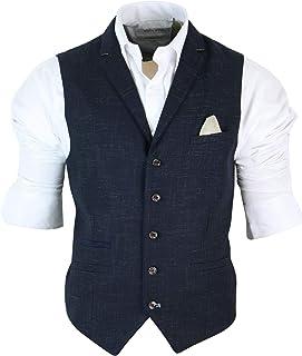 Mens Tailored Fit Retro Herringbone Tweed Waistcoat Vest Velvet Corduroy Wool