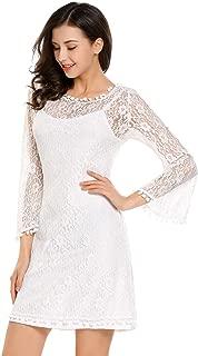 BEAUTYTALK Women Boho Floral Lace Dress Crochet Ball Fringe A-Line Dress Bell Sleeve