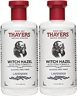 Thayers Alcohol-Free Witch Hazel with Organic Aloe Vera Formula Toner, Lavender 12 oz (Pack of 2)