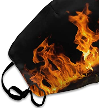ETHAICO Fillter Cloth for Adult and Kids,Fire Flames On A Black Background,Reusable Windproof Cloth Half Face Double Protecti