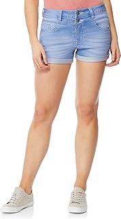 0b086c0e46 WallFlower Women's Juniors Sassy InstaSoft High Waisted Denim Shorty Shorts