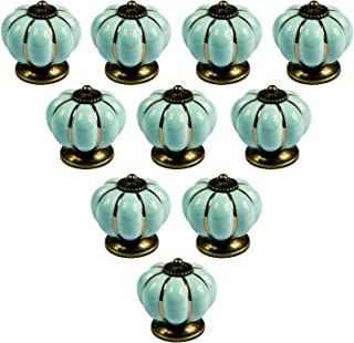 Europa PsmGoods calabaza de cerámica perillas de puerta de estilo Vintage para armario gabinete de cocina armario tira toreinforced , 10Pack azul claro