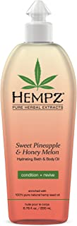 Hempz Hydrating Bath and Body Oil for Women, Sweet Pineapple & Honey Melon, 6.75 fl. oz. - Conditioning Body Moisturizer w...