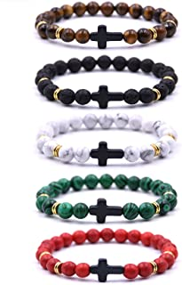 3-5Pcs Bead Bracelet for Men Women Lava Rock Stone Cross Bracelet Elastic