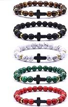 EVELICAL 3-5Pcs Bead Bracelet for Men Women Lava Rock Stone Cross Bracelet Elastic