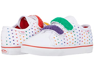 Vans Kids Style 23 V (Infant/Toddler) ((Chenille) Rainbow Heart/True White) Girls Shoes