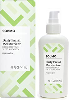 Amazon Brand - Solimo SPF 15 Daily Facial Moisturizer, Fragrance Free, Broad Spectrum Sunscreen, 4.8 Fluid Ounce