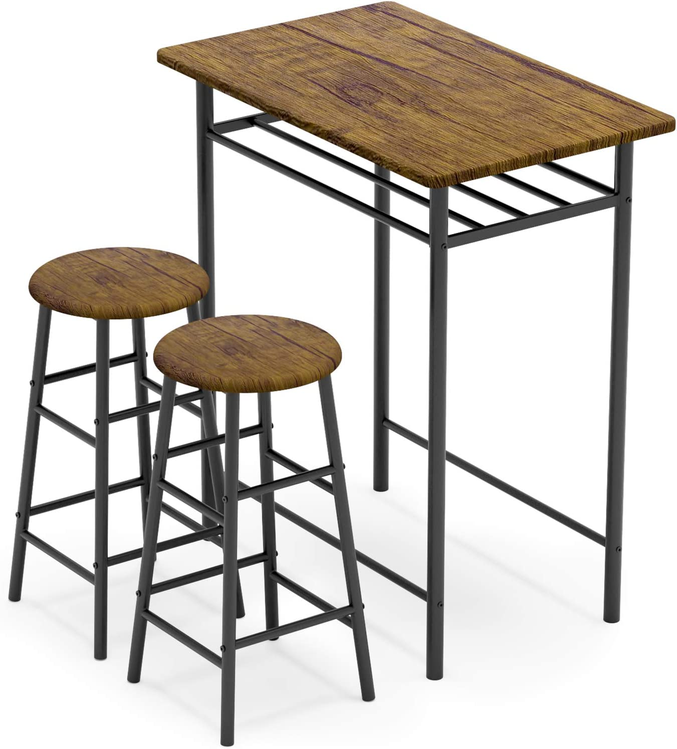WeeHom 9 Pieces Bar Table Set, Modern Pub Table and Chairs Dining Set,  Kitchen Counter Height Dining Table Set with 9 Bar Stools, Built in Storage  ...