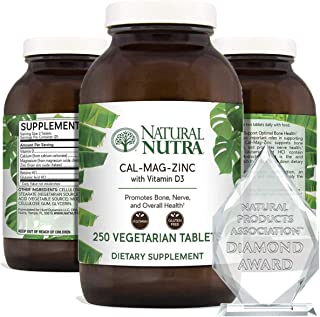 Natural Nutra Calcium Magnesium Zinc Supplement with Vitamin D3 for Bone Strength, Health and Healing, Gluten-Free and Sug...
