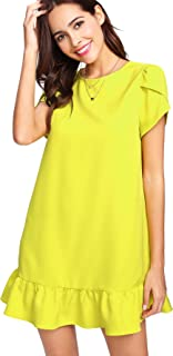 Women's Round Neck Petal Short Sleeve Ruffle Hem Tunic Dress