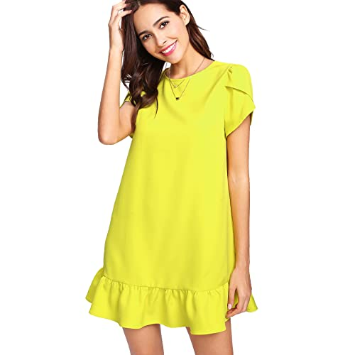 34c611f3c7c Verdusa Women s Round Neck Petal Short Sleeve Ruffle Hem Tunic Dress