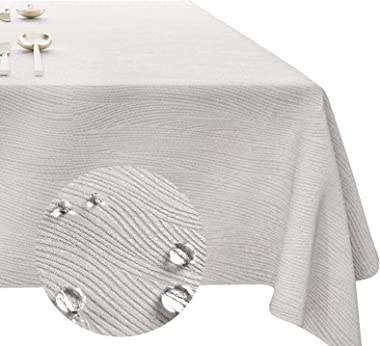 Vonabem Swirl Jacquard Rectangle Tablecloth - 60x84 Inch - Light Grey Oblong Table Cloth in Waterproof and Oil Proof Washable