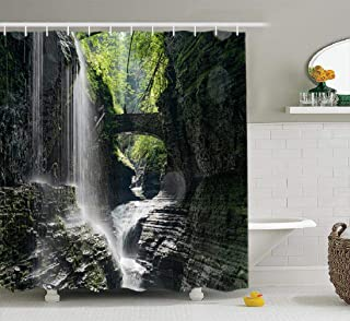 Fall Shower Curtain, Waterproof Bathroom Shower Curtains State New York USA Awesome Beautiful Beauty Park Bathroom Set Bathroom Curtains 72x78 inches Set of Hooks, State New York