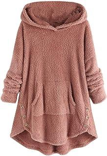 Kiyotoo Womens Oversized Warm Double Fuzzy Hoodies Casual Loose Pullover Hooded Sweatshirt Outwear Asymmetrical Button Hem