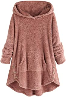 iHHAPY Women's Plush Hooded Jacket Button Hoodie Faux Wool Coat Loose Winter Pullover Oversized Sweat Jacket Long Sleeve